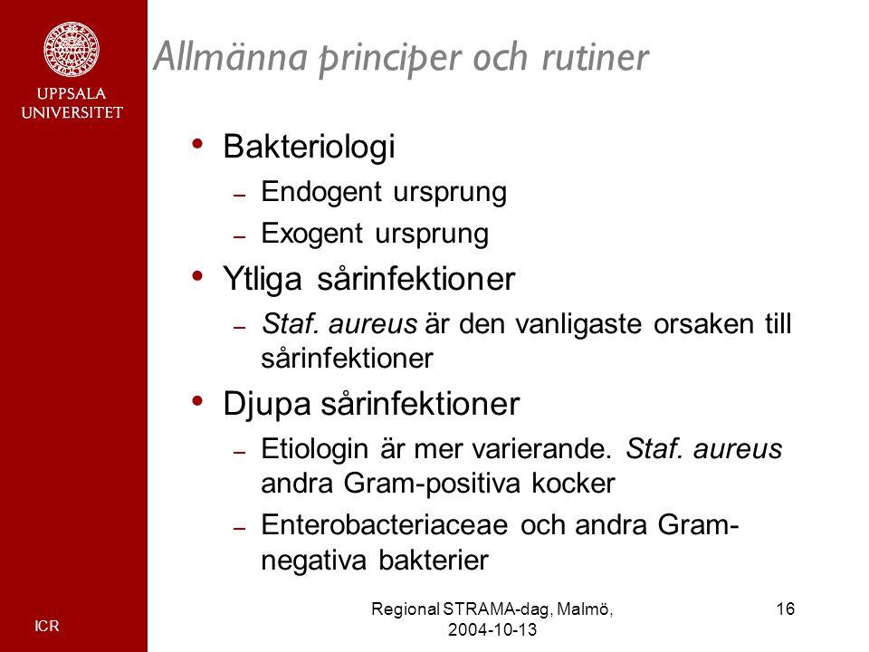 ICR 16Regional STRAMA-dag, Malmö, 2004-10-13 Allmänna principer och rutiner Bakteriologi – Endogent ursprung – Exogent ursprung Ytliga sårinfektioner