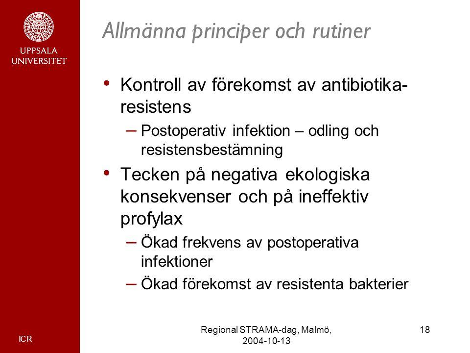 ICR 18Regional STRAMA-dag, Malmö, 2004-10-13 Allmänna principer och rutiner Kontroll av förekomst av antibiotika- resistens – Postoperativ infektion –