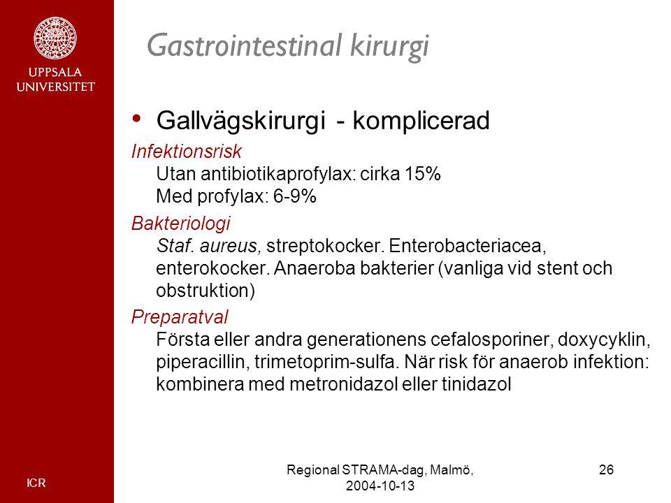 ICR 26Regional STRAMA-dag, Malmö, 2004-10-13 Gastrointestinal kirurgi Gallvägskirurgi - komplicerad Infektionsrisk Utan antibiotikaprofylax: cirka 15%