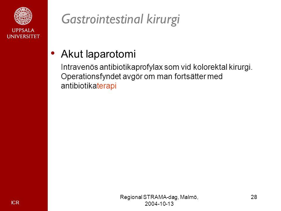 ICR 28Regional STRAMA-dag, Malmö, 2004-10-13 Gastrointestinal kirurgi Akut laparotomi Intravenös antibiotikaprofylax som vid kolorektal kirurgi. Opera