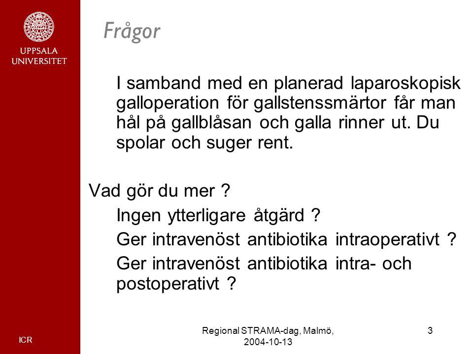 ICR 3Regional STRAMA-dag, Malmö, 2004-10-13 Frågor I samband med en planerad laparoskopisk galloperation för gallstenssmärtor får man hål på gallblåsa