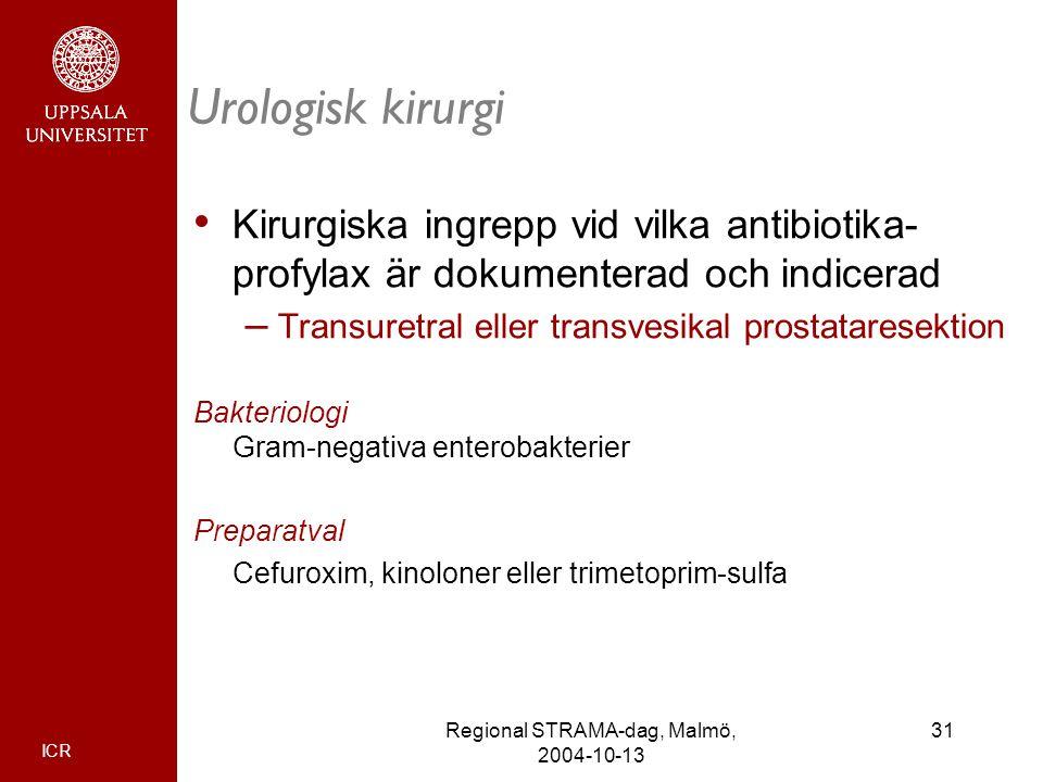 ICR 31Regional STRAMA-dag, Malmö, 2004-10-13 Urologisk kirurgi Kirurgiska ingrepp vid vilka antibiotika- profylax är dokumenterad och indicerad – Tran