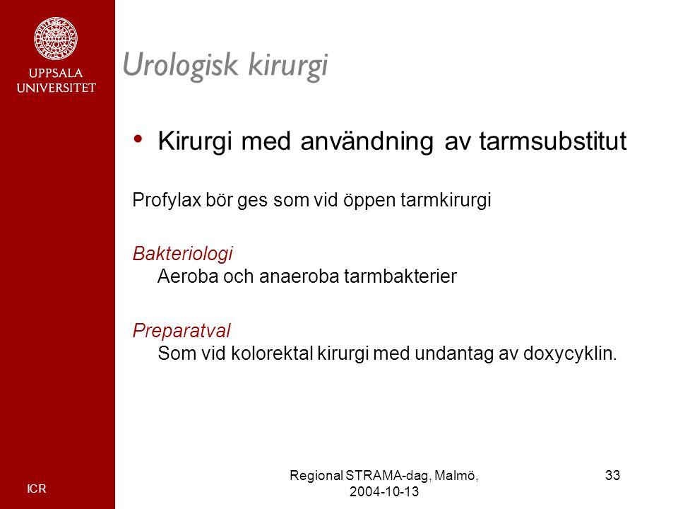 ICR 33Regional STRAMA-dag, Malmö, 2004-10-13 Urologisk kirurgi Kirurgi med användning av tarmsubstitut Profylax bör ges som vid öppen tarmkirurgi Bakt