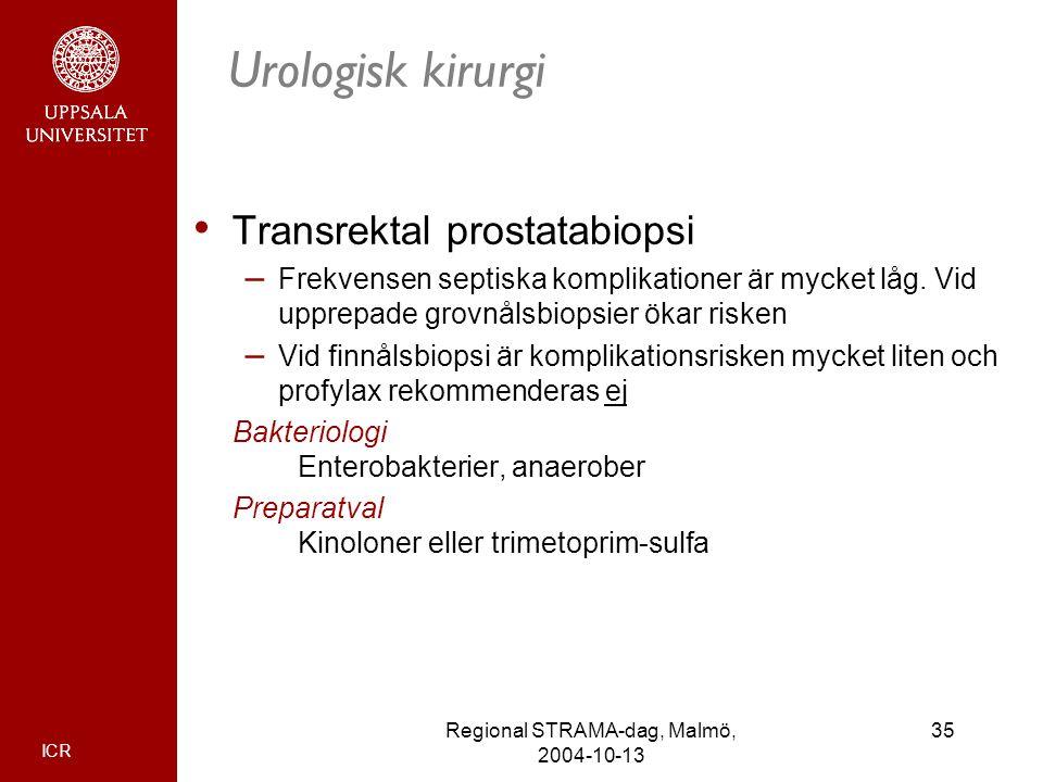 ICR 35Regional STRAMA-dag, Malmö, 2004-10-13 Urologisk kirurgi Transrektal prostatabiopsi – Frekvensen septiska komplikationer är mycket låg. Vid uppr