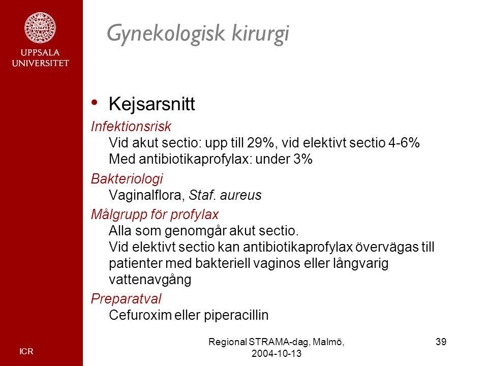 ICR 39Regional STRAMA-dag, Malmö, 2004-10-13 Gynekologisk kirurgi Kejsarsnitt Infektionsrisk Vid akut sectio: upp till 29%, vid elektivt sectio 4-6% M
