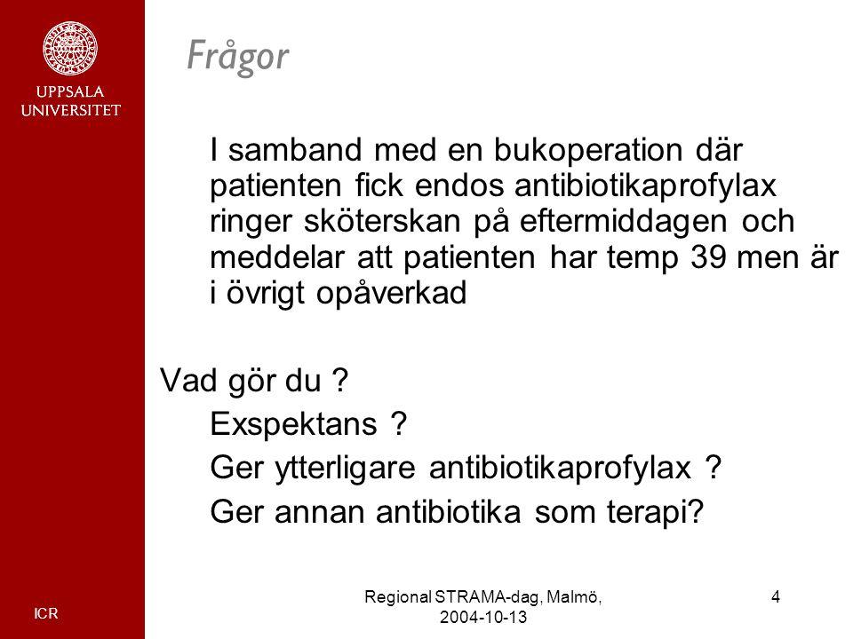ICR 4Regional STRAMA-dag, Malmö, 2004-10-13 Frågor I samband med en bukoperation där patienten fick endos antibiotikaprofylax ringer sköterskan på eft