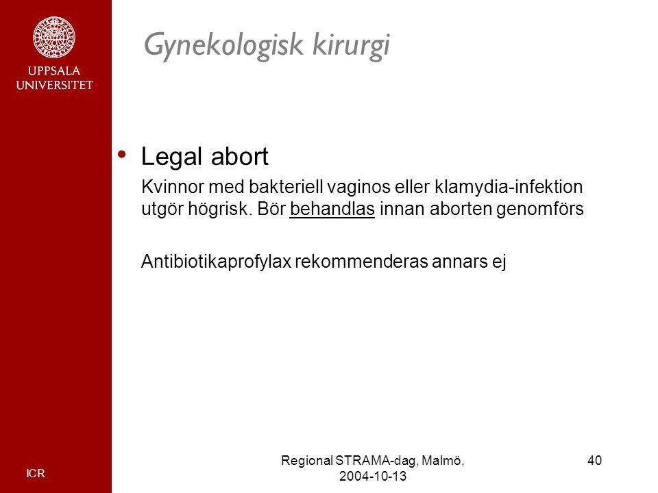 ICR 40Regional STRAMA-dag, Malmö, 2004-10-13 Gynekologisk kirurgi Legal abort Kvinnor med bakteriell vaginos eller klamydia-infektion utgör högrisk. B