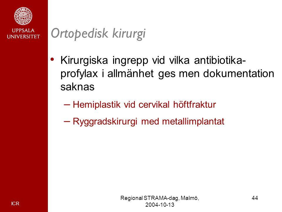 ICR 44Regional STRAMA-dag, Malmö, 2004-10-13 Ortopedisk kirurgi Kirurgiska ingrepp vid vilka antibiotika- profylax i allmänhet ges men dokumentation s