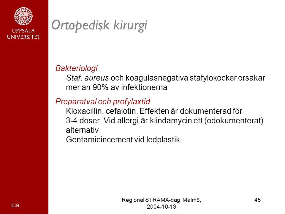 ICR 45Regional STRAMA-dag, Malmö, 2004-10-13 Ortopedisk kirurgi Bakteriologi Staf. aureus och koagulasnegativa stafylokocker orsakar mer än 90% av inf