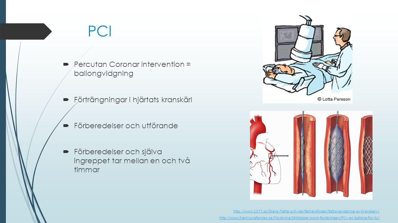 PCI  Percutan Coronar Intervention = ballongvidgning  Förträngningar i hjärtats kranskärl  Förberedelser och utförande  Förberedelser och själva i