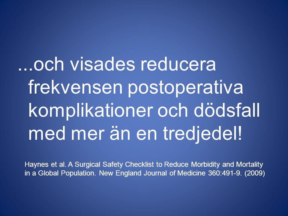...och visades reducera frekvensen postoperativa komplikationer och dödsfall med mer än en tredjedel! Haynes et al. A Surgical Safety Checklist to Red