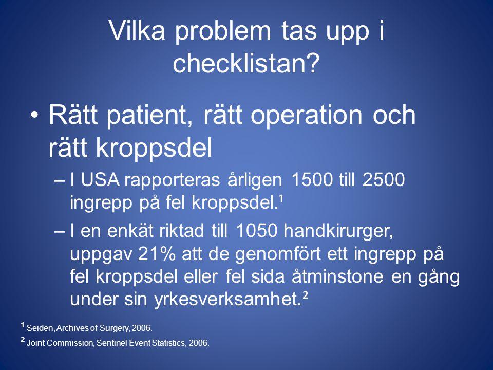Vilka problem tas upp i checklistan? Rätt patient, rätt operation och rätt kroppsdel –I USA rapporteras årligen 1500 till 2500 ingrepp på fel kroppsde