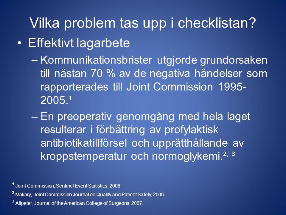 Vilka problem tas upp i checklistan? Effektivt lagarbete –Kommunikationsbrister utgjorde grundorsaken till nästan 70 % av de negativa händelser som ra