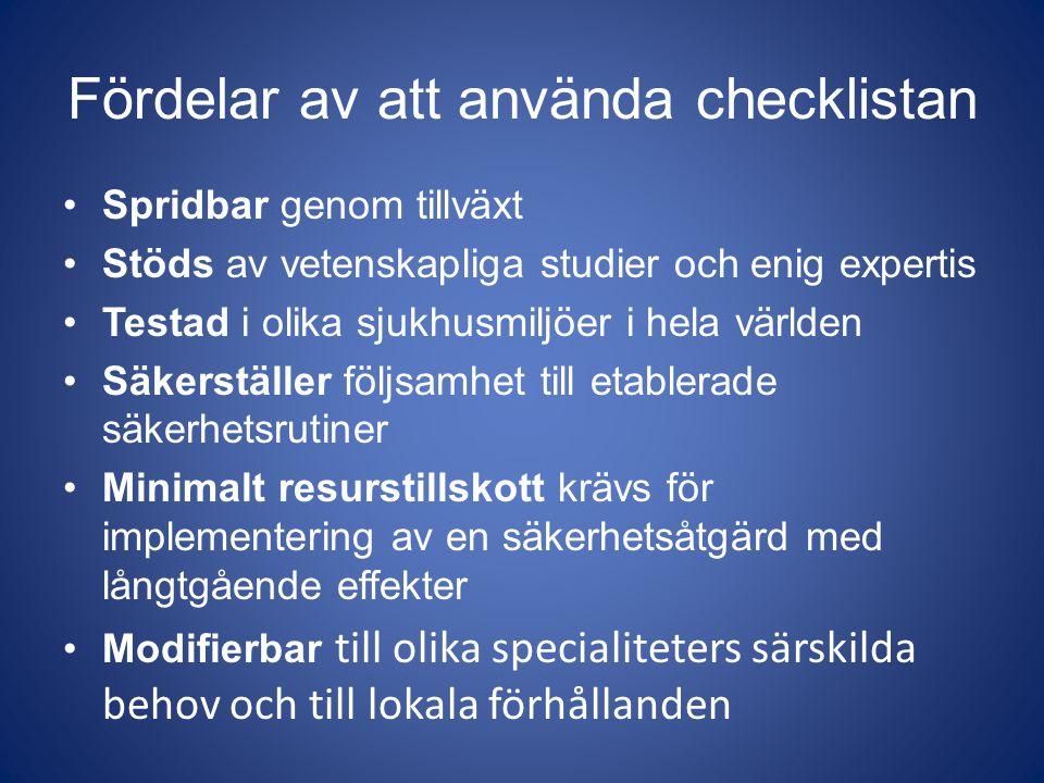 Fördelar av att använda checklistan Spridbar genom tillväxt Stöds av vetenskapliga studier och enig expertis Testad i olika sjukhusmiljöer i hela värl