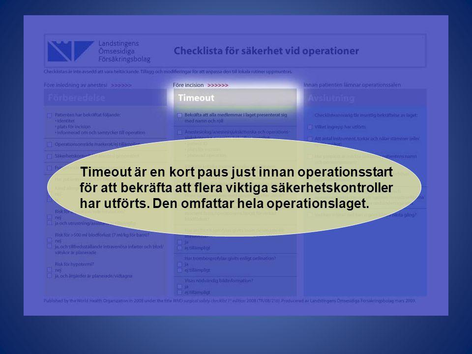 Timeout är en kort paus just innan operationsstart för att bekräfta att flera viktiga säkerhetskontroller har utförts. Den omfattar hela operationslag