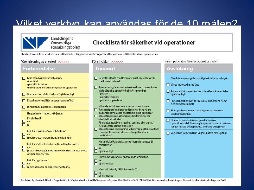 Vilka problem tas upp i checklistan.