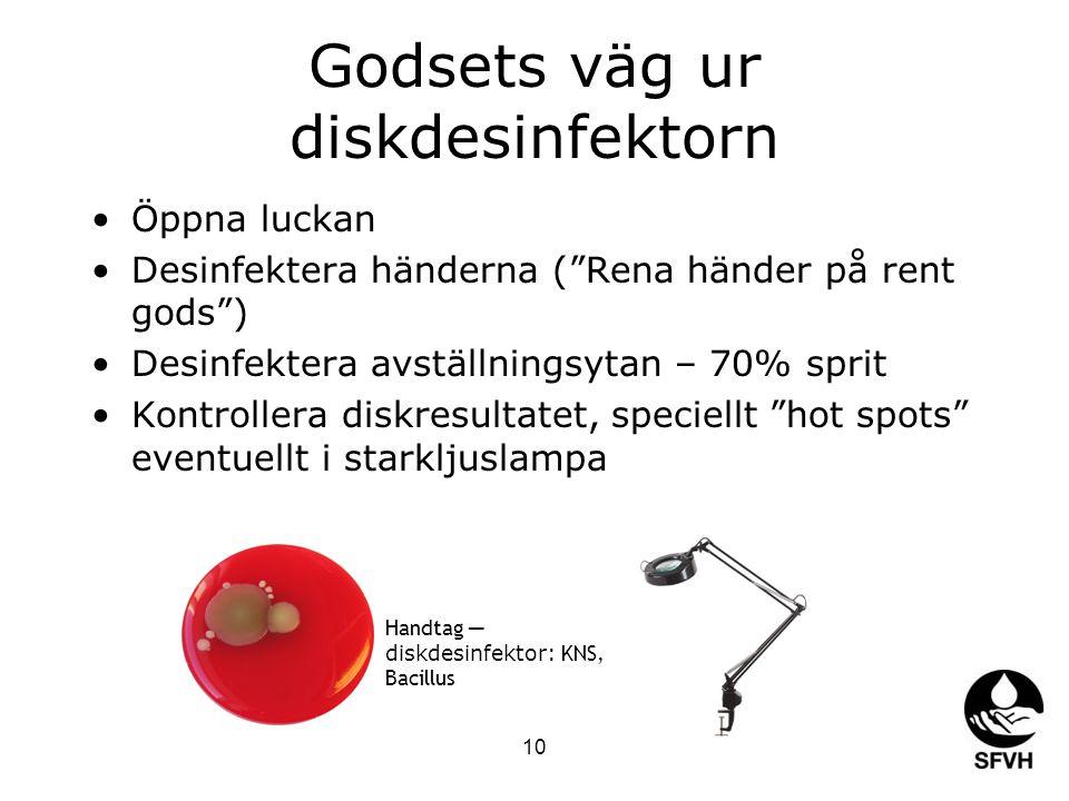 """10 Godsets väg ur diskdesinfektorn Öppna luckan Desinfektera händerna (""""Rena händer på rent gods"""") Desinfektera avställningsytan – 70% sprit Kontrolle"""
