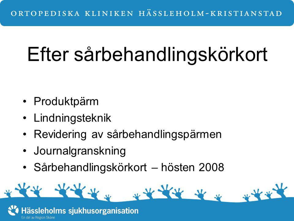 Efter sårbehandlingskörkort Produktpärm Lindningsteknik Revidering av sårbehandlingspärmen Journalgranskning Sårbehandlingskörkort – hösten 2008