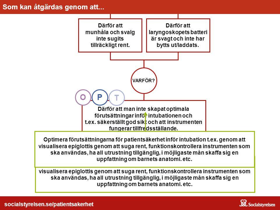 socialstyrelsen.se/patientsakerhet Optimera förutsättningarna för patientsäkerhet inför intubation t.ex. genom att visualisera epiglottis genom att su