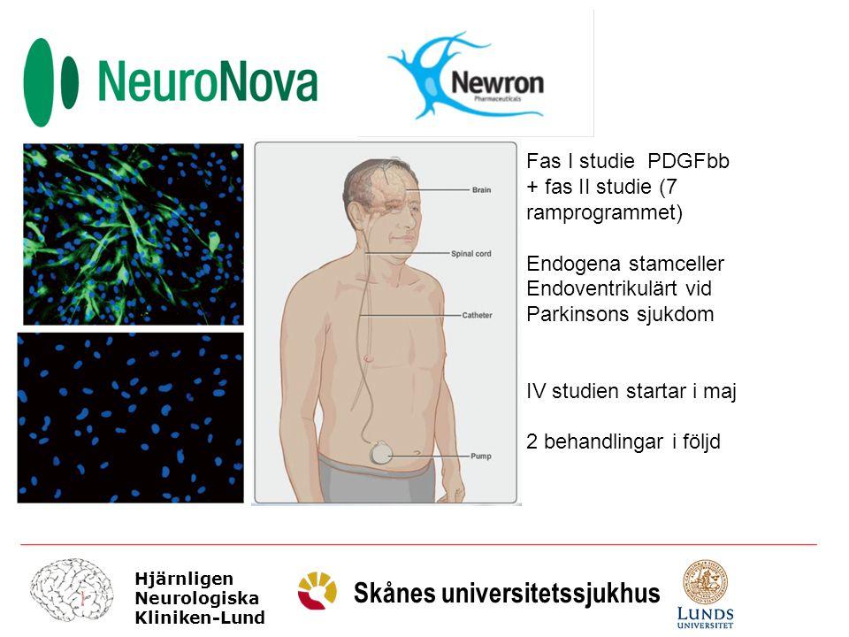 Hjärnligen Neurologiska Kliniken-Lund Skånes universitetssjukhus Fas I studie PDGFbb + fas II studie (7 ramprogrammet) Endogena stamceller Endoventrik