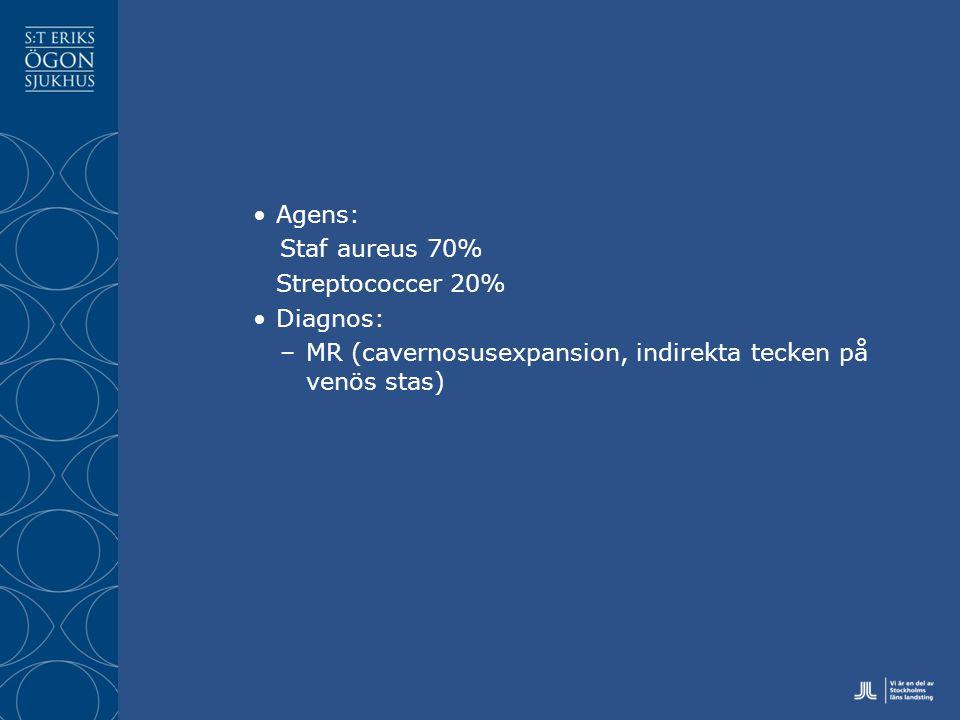 Agens: Staf aureus 70% Streptococcer 20% Diagnos: –MR (cavernosusexpansion, indirekta tecken på venös stas)