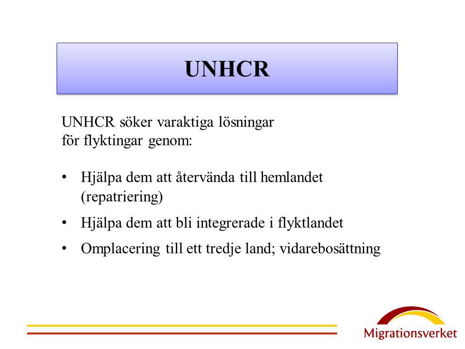 UNHCR UNHCR söker varaktiga lösningar för flyktingar genom: Hjälpa dem att återvända till hemlandet (repatriering) Hjälpa dem att bli integrerade i fl