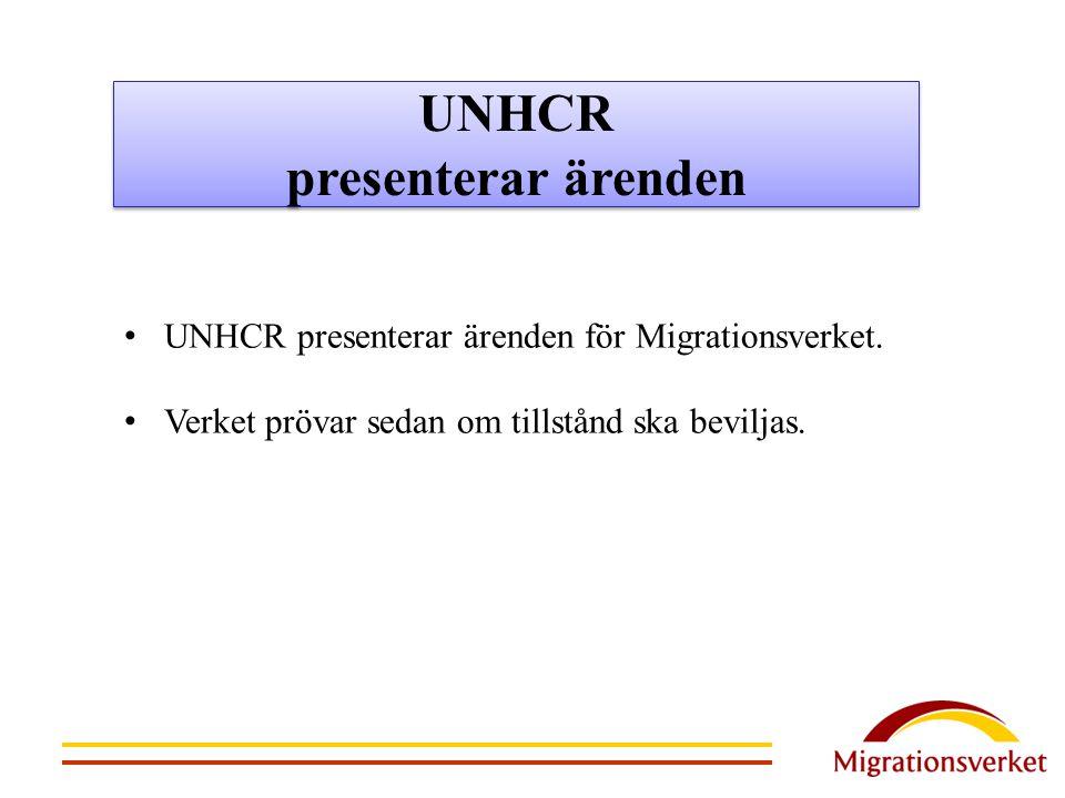 UNHCR presenterar ärenden UNHCR presenterar ärenden för Migrationsverket. Verket prövar sedan om tillstånd ska beviljas.