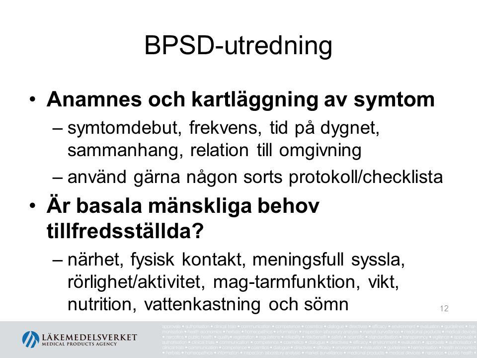BPSD-utredning Anamnes och kartläggning av symtom –symtomdebut, frekvens, tid på dygnet, sammanhang, relation till omgivning –använd gärna någon sorts