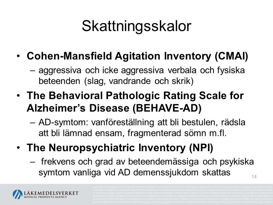 Skattningsskalor Cohen-Mansfield Agitation Inventory (CMAI) –aggressiva och icke aggressiva verbala och fysiska beteenden (slag, vandrande och skrik)