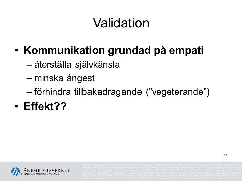 """Validation Kommunikation grundad på empati –återställa självkänsla –minska ångest –förhindra tillbakadragande (""""vegeterande"""") Effekt?? 25"""