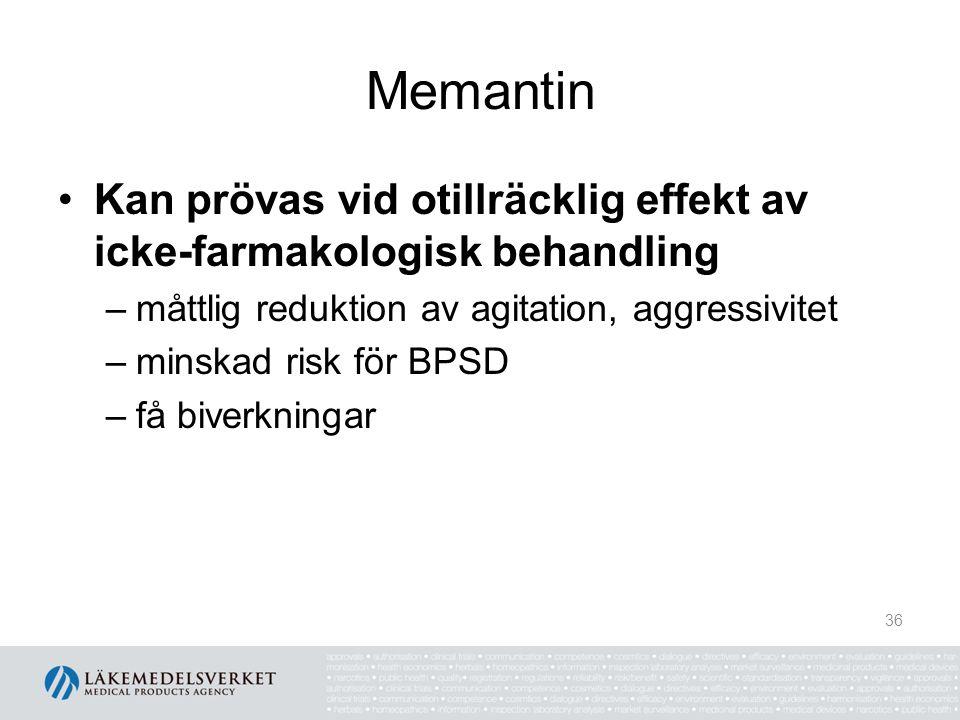Memantin Kan prövas vid otillräcklig effekt av icke-farmakologisk behandling –måttlig reduktion av agitation, aggressivitet –minskad risk för BPSD –få