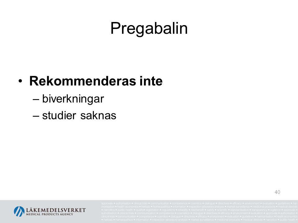 Pregabalin Rekommenderas inte –biverkningar –studier saknas 40