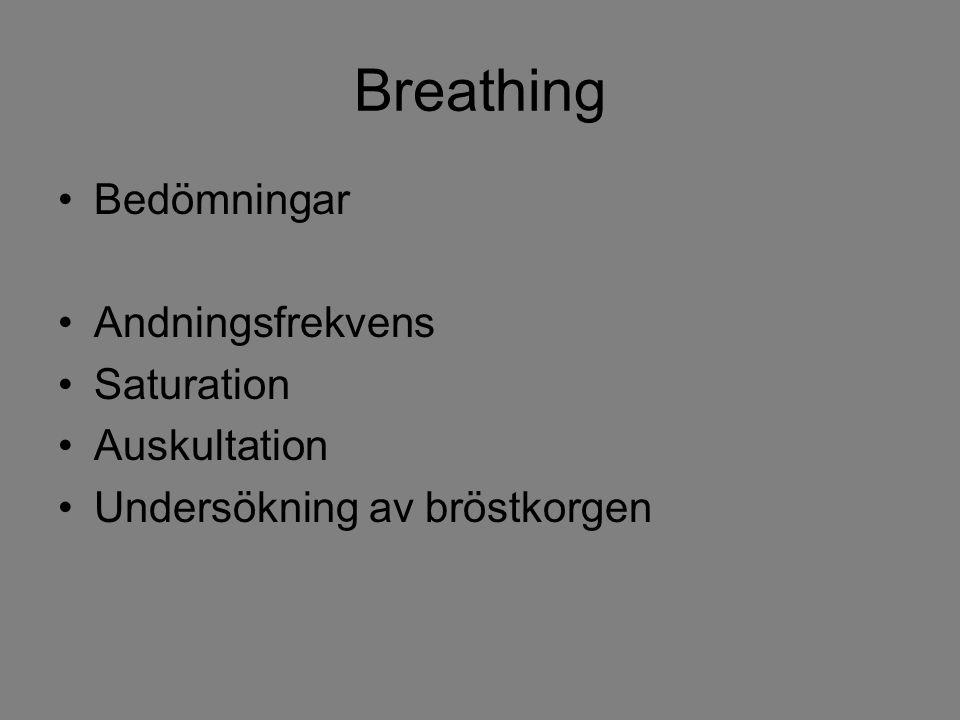 Breathing Bedömningar Andningsfrekvens Saturation Auskultation Undersökning av bröstkorgen