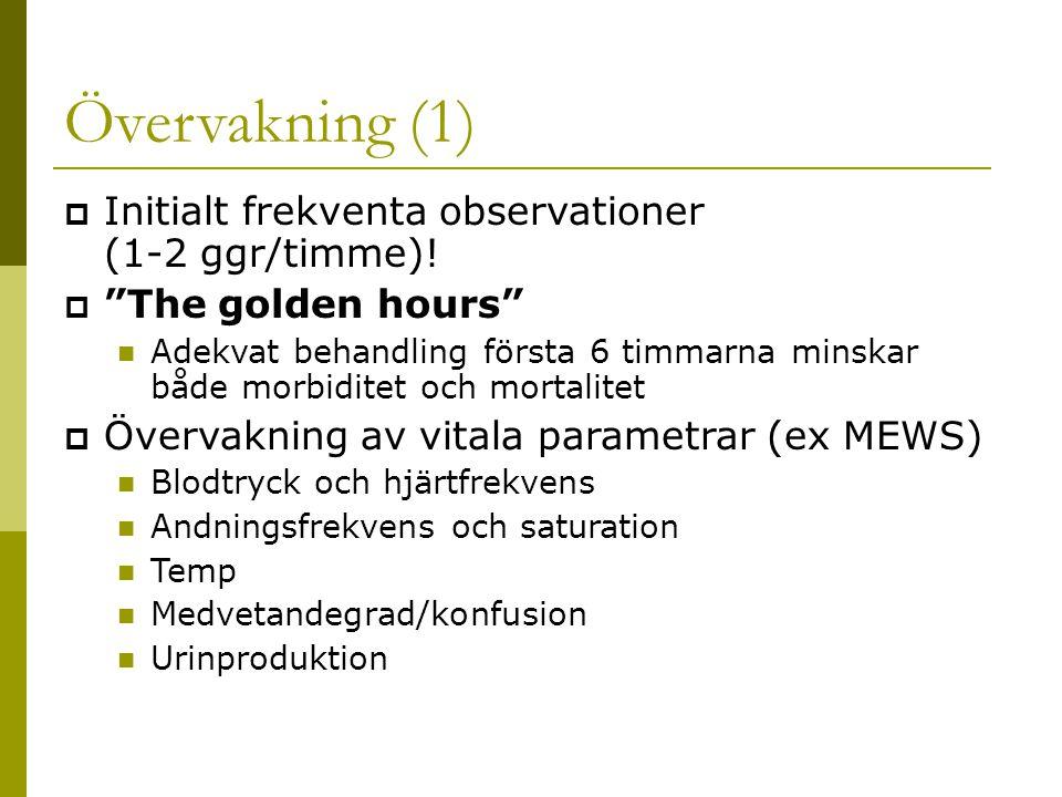 Övervakning (1)  Initialt frekventa observationer (1-2 ggr/timme).