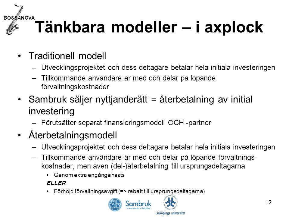 BOSSANOVA 12 Tänkbara modeller – i axplock Traditionell modell –Utvecklingsprojektet och dess deltagare betalar hela initiala investeringen –Tillkommande användare är med och delar på löpande förvaltningskostnader Sambruk säljer nyttjanderätt = återbetalning av initial investering –Förutsätter separat finansieringsmodell OCH -partner Återbetalningsmodell –Utvecklingsprojektet och dess deltagare betalar hela initiala investeringen –Tillkommande användare är med och delar på löpande förvaltnings- kostnader, men även (del-)återbetalning till ursprungsdeltagarna Genom extra engångsinsats ELLER Förhöjd förvaltningsavgift (=> rabatt till ursprungsdeltagarna)