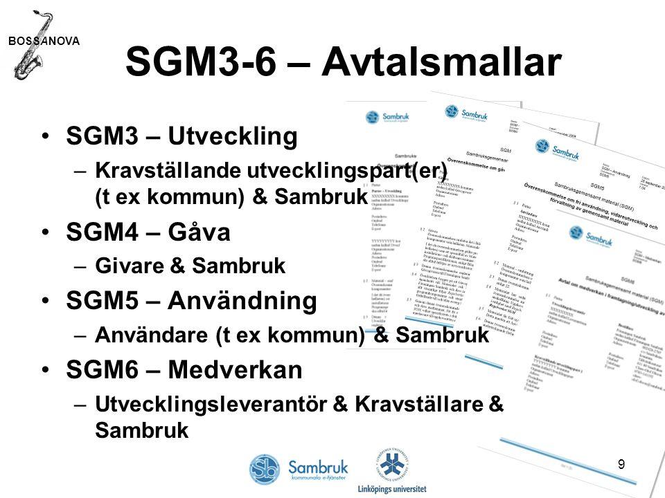 BOSSANOVA 9 SGM3-6 – Avtalsmallar SGM3 – Utveckling –Kravställande utvecklingspart(er) (t ex kommun) & Sambruk SGM4 – Gåva –Givare & Sambruk SGM5 – Användning –Användare (t ex kommun) & Sambruk SGM6 – Medverkan –Utvecklingsleverantör & Kravställare & Sambruk