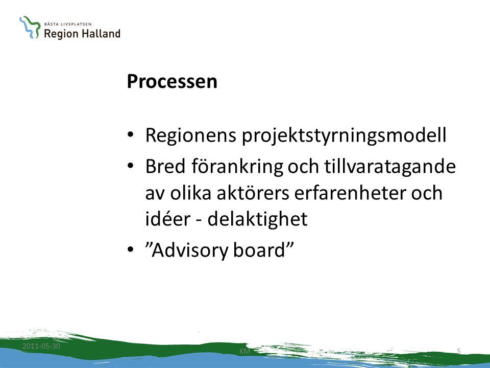 """Processen Regionens projektstyrningsmodell Bred förankring och tillvaratagande av olika aktörers erfarenheter och idéer - delaktighet """"Advisory board"""""""