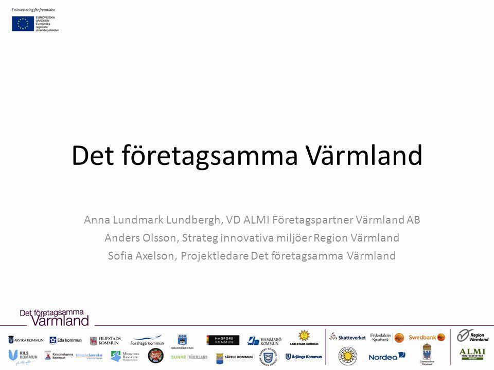 Det företagsamma Värmland Anna Lundmark Lundbergh, VD ALMI Företagspartner Värmland AB Anders Olsson, Strateg innovativa miljöer Region Värmland Sofia Axelson, Projektledare Det företagsamma Värmland