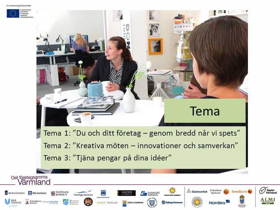 Tema Tema 1: Du och ditt företag – genom bredd når vi spets Tema 2: Kreativa möten – innovationer och samverkan Tema 3: Tjäna pengar på dina idéer