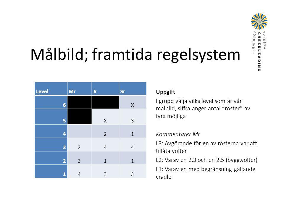 """Målbild; framtida regelsystem LevelMrJrSr 6 X 5 X3 421 3244 2311 1433 Uppgift I grupp välja vilka level som är vår målbild, siffra anger antal """"röster"""