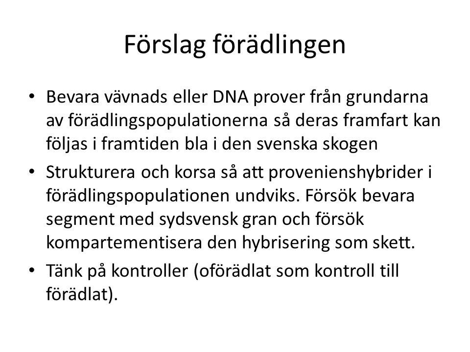 Förslag förädlingen Bevara vävnads eller DNA prover från grundarna av förädlingspopulationerna så deras framfart kan följas i framtiden bla i den sven