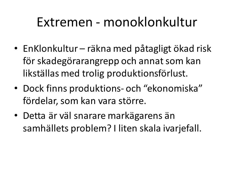 Extremen - monoklonkultur EnKlonkultur – räkna med påtagligt ökad risk för skadegörarangrepp och annat som kan likställas med trolig produktionsförlus