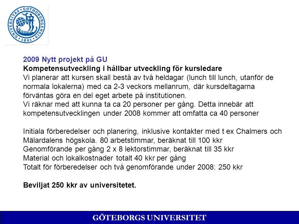 GÖTEBORGS UNIVERSITET 2009 Nytt projekt på GU Kompetensutveckling i hållbar utveckling för kursledare Vi planerar att kursen skall bestå av två heldag