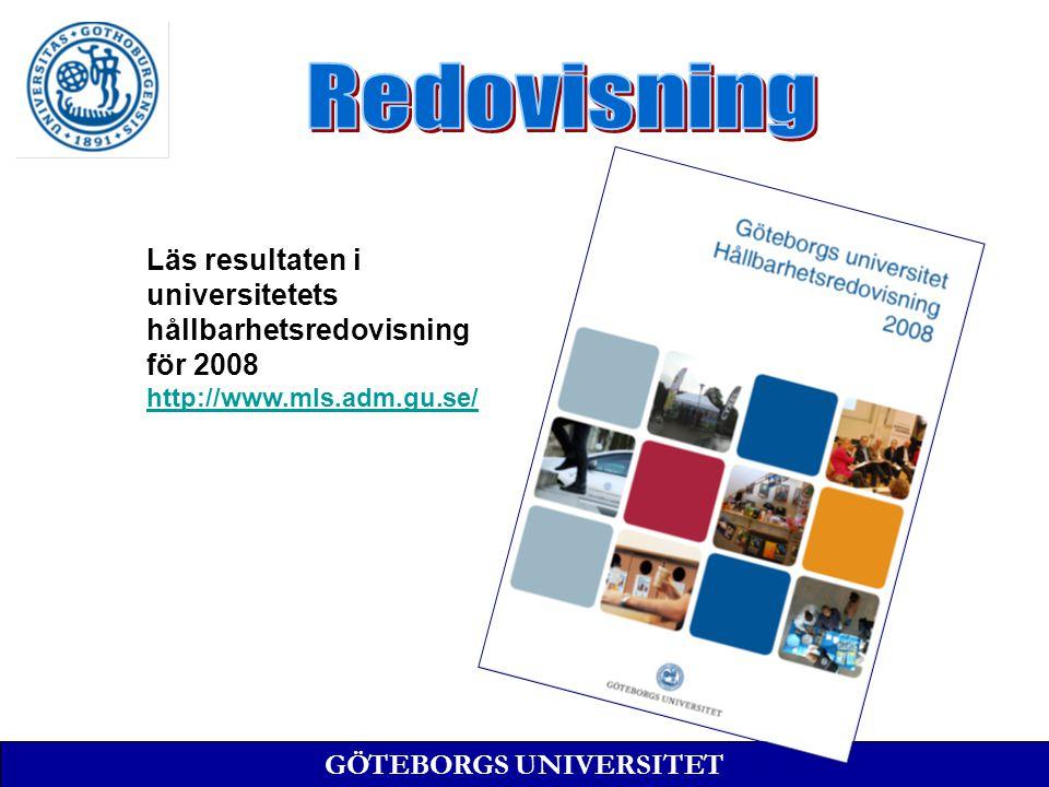 GÖTEBORGS UNIVERSITET Läs resultaten i universitetets hållbarhetsredovisning för 2008 http://www.mls.adm.gu.se/
