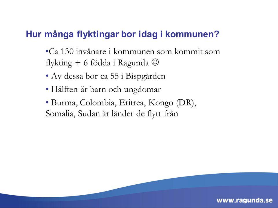 Hur många flyktingar bor idag i kommunen? Ca 130 invånare i kommunen som kommit som flykting + 6 födda i Ragunda Av dessa bor ca 55 i Bispgården Hälft