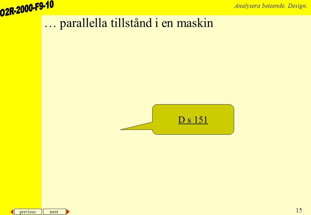 previous next 15 Analysera beteende. Design. … parallella tillstånd i en maskin D s 151