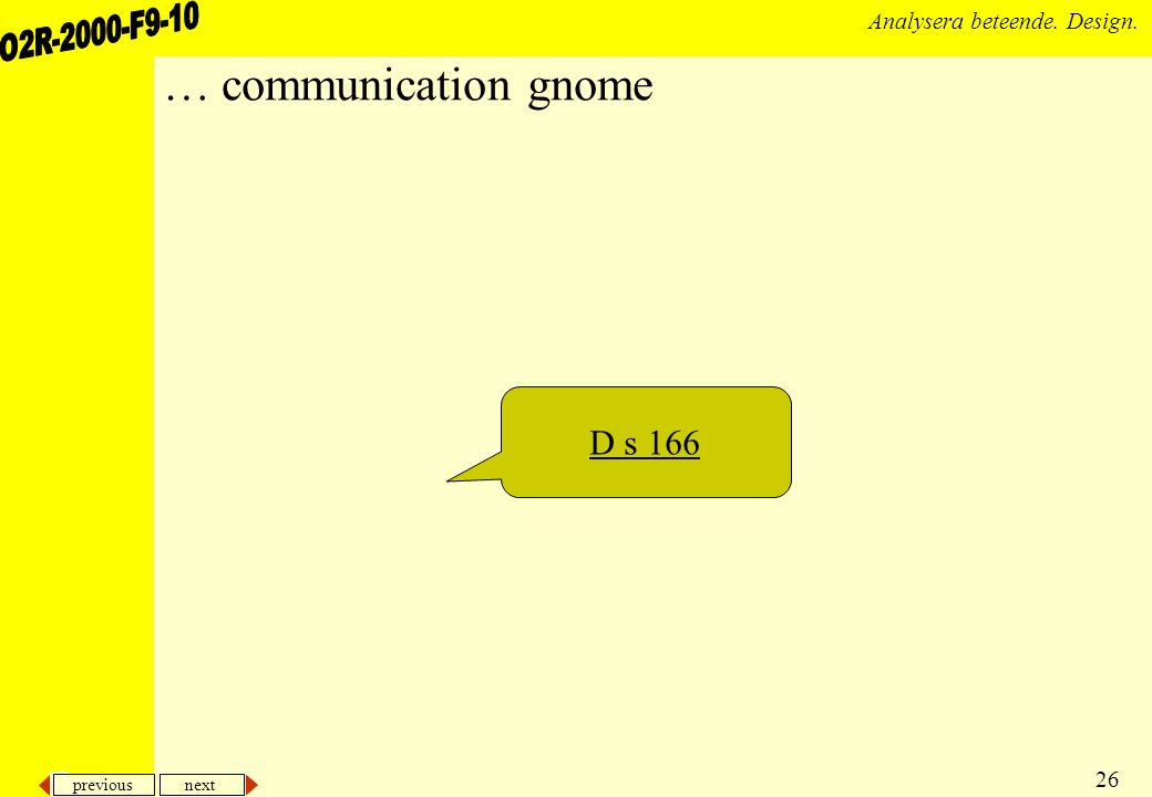previous next 26 Analysera beteende. Design. … communication gnome D s 166