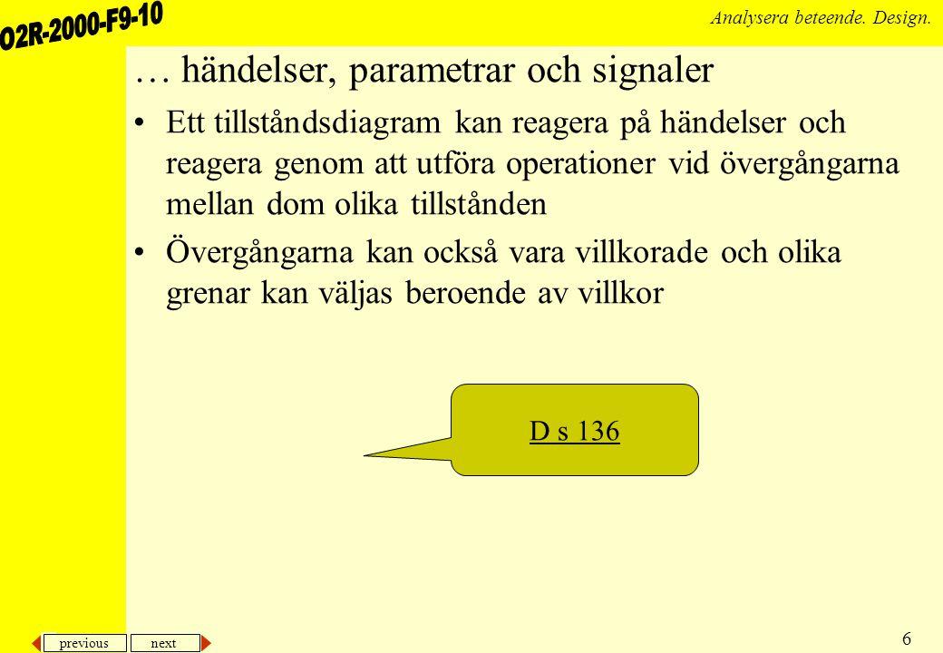 previous next 7 Analysera beteende. Design. … olika deltillstånd och symboler D s 139