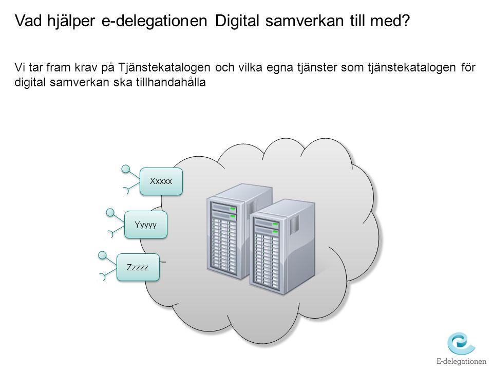 Vad hjälper e-delegationen Digital samverkan till med? Vi tar fram krav på Tjänstekatalogen och vilka egna tjänster som tjänstekatalogen för digital s