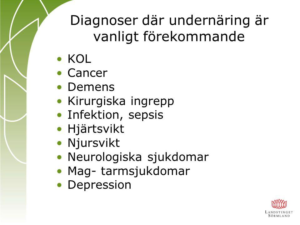 Diagnoser där undernäring är vanligt förekommande KOL Cancer Demens Kirurgiska ingrepp Infektion, sepsis Hjärtsvikt Njursvikt Neurologiska sjukdomar M